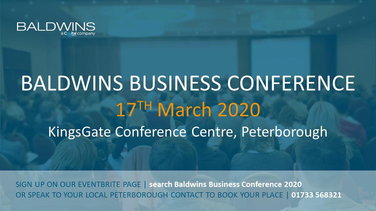 Baldwins Business Conference 2020 | KingsGate Conference Centre |Peterborough