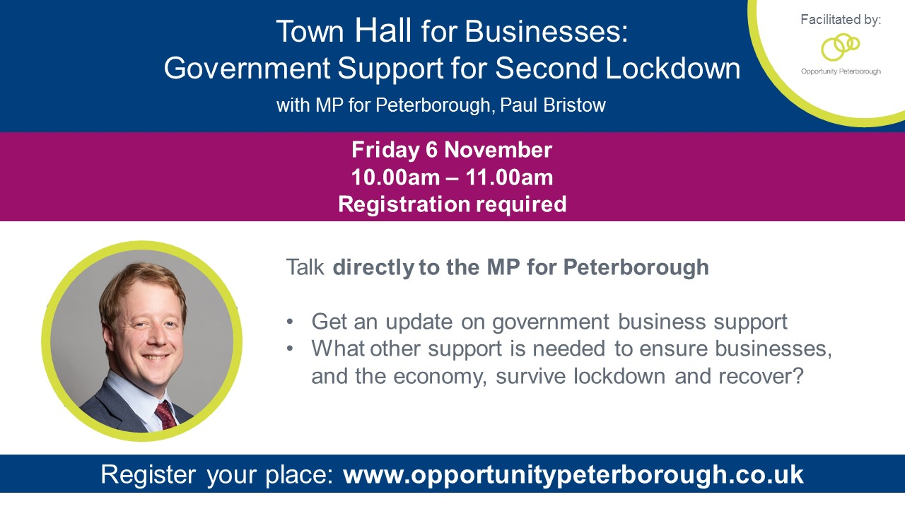 Peterborough MP to host town hall style event with local businesses following lockdown announcement