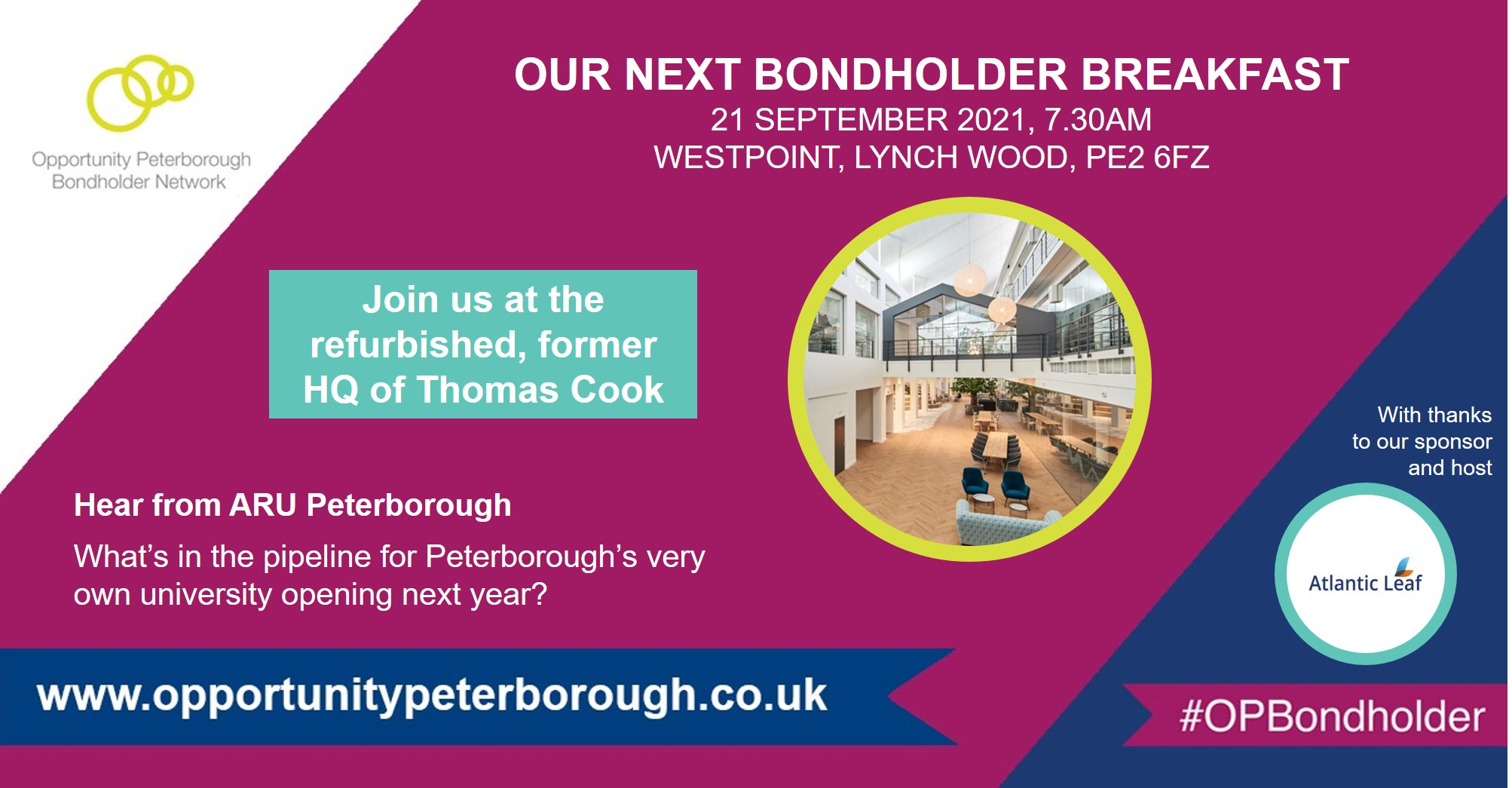ARU Peterborough to address city businesses at Opportunity Peterborough Bondholder Breakfast on 21 September, one year ahead of university opening